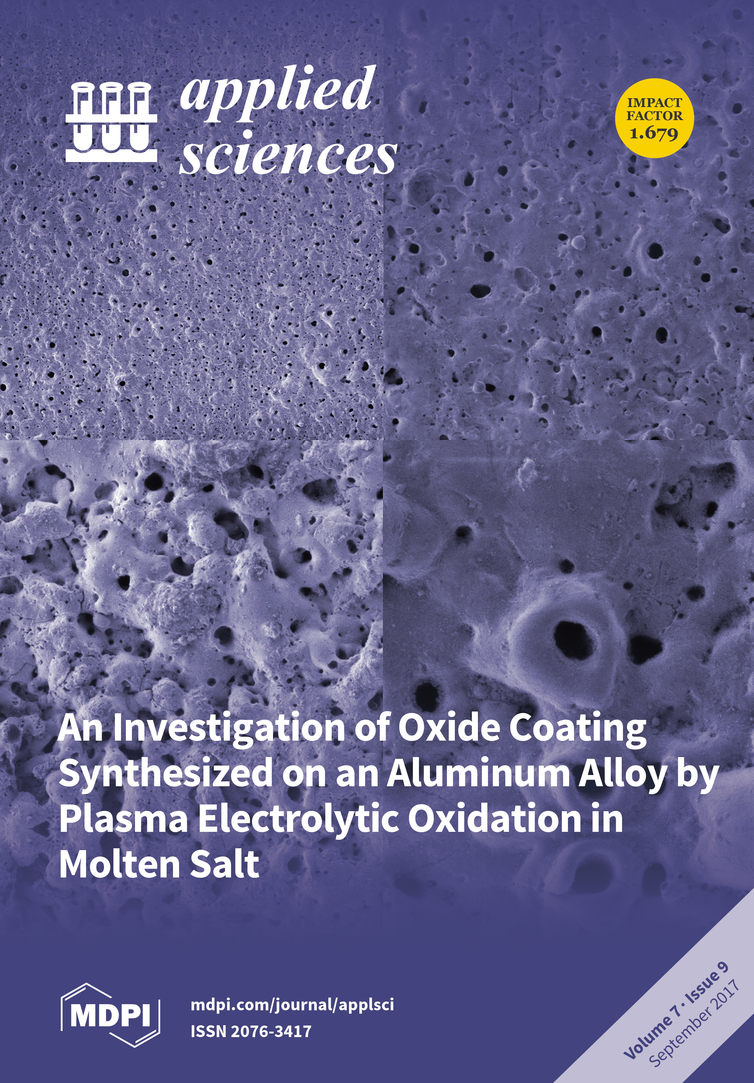 Applied sciences september 2017 browse articles the presented image are surface morphology of aluminum 1050 alloy subjected to plasma electrolytic oxidation peo treatment fandeluxe Gallery
